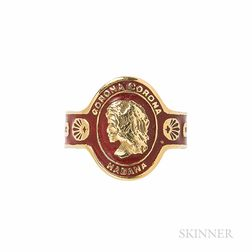 18kt Gold and Enamel Cigar Band Ring, Cartier