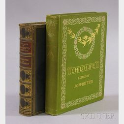 John G. Whittier, Child Life,   and a Decorative Gilt Blue Leather-bound   Book