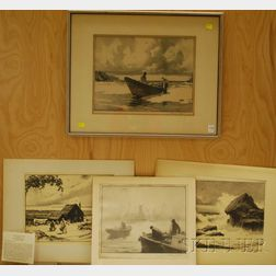 Gordon Hope Grant (American, 1875-1962)      Four Lithographs: Fog Over Gloucester ,  Conflict