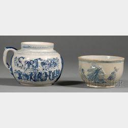 Cobalt-decorated Stoneware Bean Pot and a Sleepy Eye Pottery Bowl