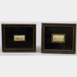 Pair of Framed Miniature British Hand-colored Scenic Prints