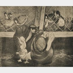 "George Overbury ""Pop"" Hart (American, 1868-1933),      Poultry Man (Large Plate)"