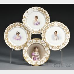 Four French Cabinet Plates Painted with Napoleonic Ladies