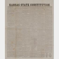 Kansas State Constitution, Broadside, 1859.