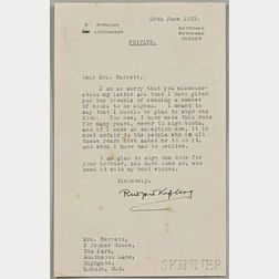 Kipling, Rudyard (1865-1936) Typed Letter Signed, Burwash, Sussex, 28 June 1933.