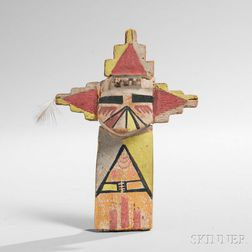 Hopi Polychrome Carved Wood Katsina, Shalako Mana