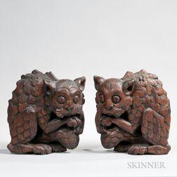 Two Carved Oak Cat Gargoyle Figures