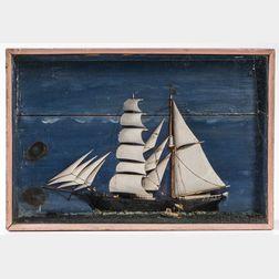 Shadow Box Diorama of a Sailing Ship