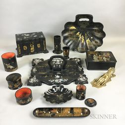 Group of Black Lacquer Tableware and a Brass Hand-form Paper Clip