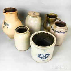 Seven Stoneware Crocks, Jars, and Pitchers