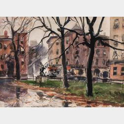 John Whorf (American, 1903-1959)      Spring Rain in the Back Bay/A Boston View