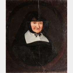 Dutch School, 17th Century      Portrait of an Old Woman in a Flat Collar and Black Hood Tied Beneath Her Chin, in a Painted Oval