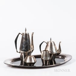Four-piece Reed & Barton Diamond Pattern Sterling Silver Tea and Coffee Service