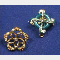 Two 14kt Gold, Enamel and Diamond Pendant/Pins