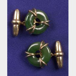 Gentleman's 18kt Gold and Nephrite Jade Cufflinks, Asprey