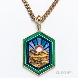 14kt Gold and Hardstone Pendant with 14kt Gold Chain