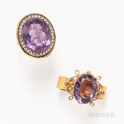 14kt Gold, Amethyst, and Diamond Cocktail Ring and a Gold-filled and Amethyst Scarf Brooch