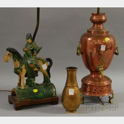 Brass-mounted Copper Samovar/Table Lamp, a Bronze Vase, and a Chinese Glazed Ceramic   Figural Roof Tile/Table Lamp