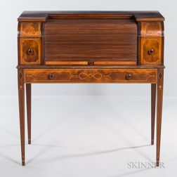 Georgian-style Inlaid Mahogany Cylinder Desk