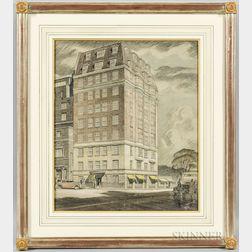 Jon Harvey (British, 19th/20th Century)      Architectural Watercolor Rendering