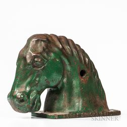 """Bonny Bright Eyes"" Green-painted Cast Iron Carnival Horse Head"