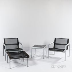 Two Richard Schultz (American, b. 1926) for Knoll Studios 1966 Patio Lounge Chairs, Ottoman, and Table