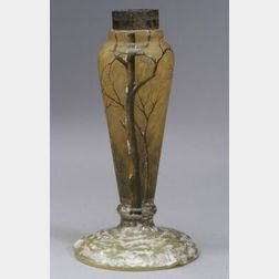 Daum Etched and Enameled Glass Lamp Base
