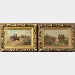 Continental School, 19th Century      Lot of Two Military Scenes:  Reconnaissance