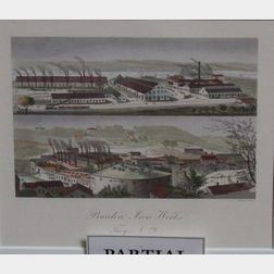 Three Framed 19th Century Grisaille Illustrations of Troy, New York, Factories for Burleigh Lithographers a Fra...
