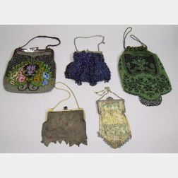 Three Art Deco Beaded Purses and Two Art Deco Mesh Purses.