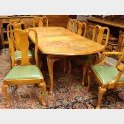 Nine-piece Barnard & Simonds Co. Queen Anne Style Cherry and Maple Dining Set