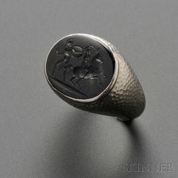 Art Deco Platinum and Green Sapphire Intaglio Ring