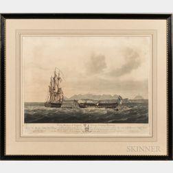 Three Nautical Hand-colored Aquatints:, After Nicholas Pocock (British, 1740-1821), To the Memory of Captain George Nicholas Hardinge;
