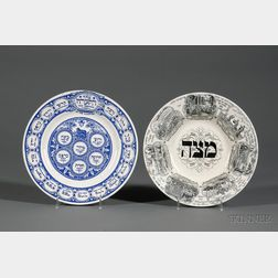 Two British Tepper Transfer Decorated Pottery Passover Dishes