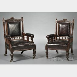 Pair of Victorian Leather-upholstered Mahogany Armchairs
