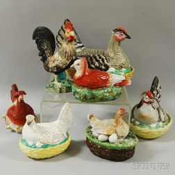 Six Hen-on-nest Covered Dishes and a Rooster Figure