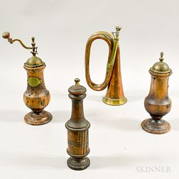 Three Turned Wood Peppermills and a Bugle