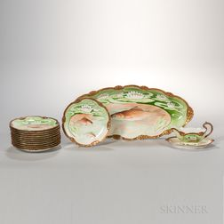 Fourteen-piece Limoges China Art Nouveau-style Hand-painted Fish Service