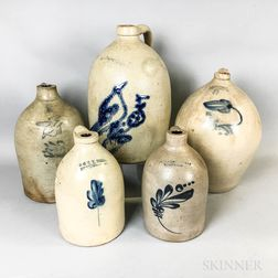 Five Cobalt-decorated Stoneware Jugs