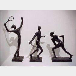 Three Modern Bronze Sculptural Tennis Figures.