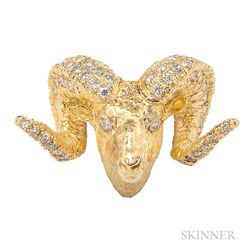 14kt Gold and Diamond Ram's Head Pendant