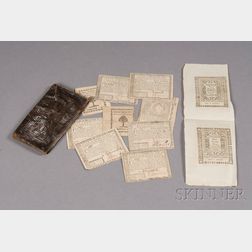 18th Century Embossed Leather Wallet with Early Paper Currency