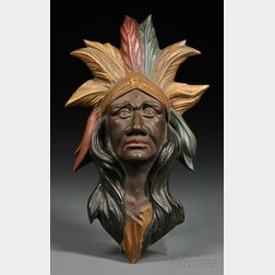 Molded Zinc Polychrome-painted Indian Head Carousel Mount
