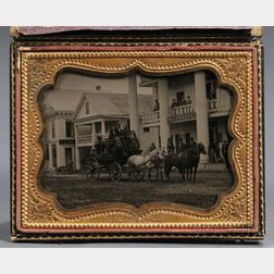 Quarter-plate Ambrotype Street Scene with Stagecoach, Figures, and Buildings