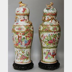 Near Pair of Chinese Export Rose Medallion Porcelain Covered Jars