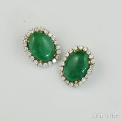 Pair of Jade and Diamond Earclips