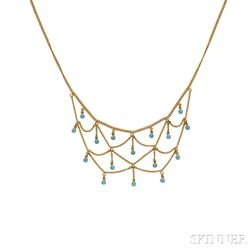 Art Nouveau 14kt Gold and Turquoise Bib Necklace