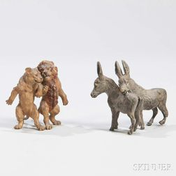 Two Austrian Cold-painted Bronze Animal Groups