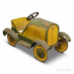 "Polychrome Tin ""Pontiac"" Pedal Car"