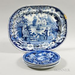 """Set of Four R. Hall """"Pains Hill, Surrey"""" Transfer-decorated Dinner Plates and an Unmarked Platter.     Estimate $200-250"""